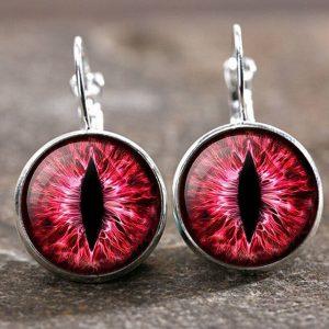 זוג עגילים מוכסף עין הדרקון בגוון אדום ורוד