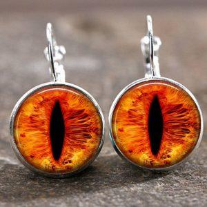 זוג עגילים מוכסף עין הדרקון בגוון כתום