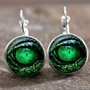 זוג עגילים מוכסף עין הדרקון בגוון ירוק