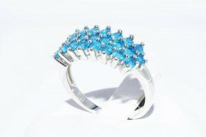 טבעת יוקרה כסף 925 בשיבוץ 24 אפטייט 1.50 קרט במידה: 8.25