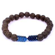 """צמיד אבני בזלת שחור 6 מ""""מ עיטור חץ כחול"""