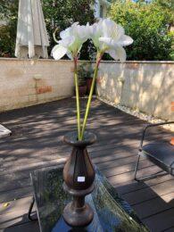 """אגרטל עץ מלא עבודת יד גובה: 46 ס""""מ"""